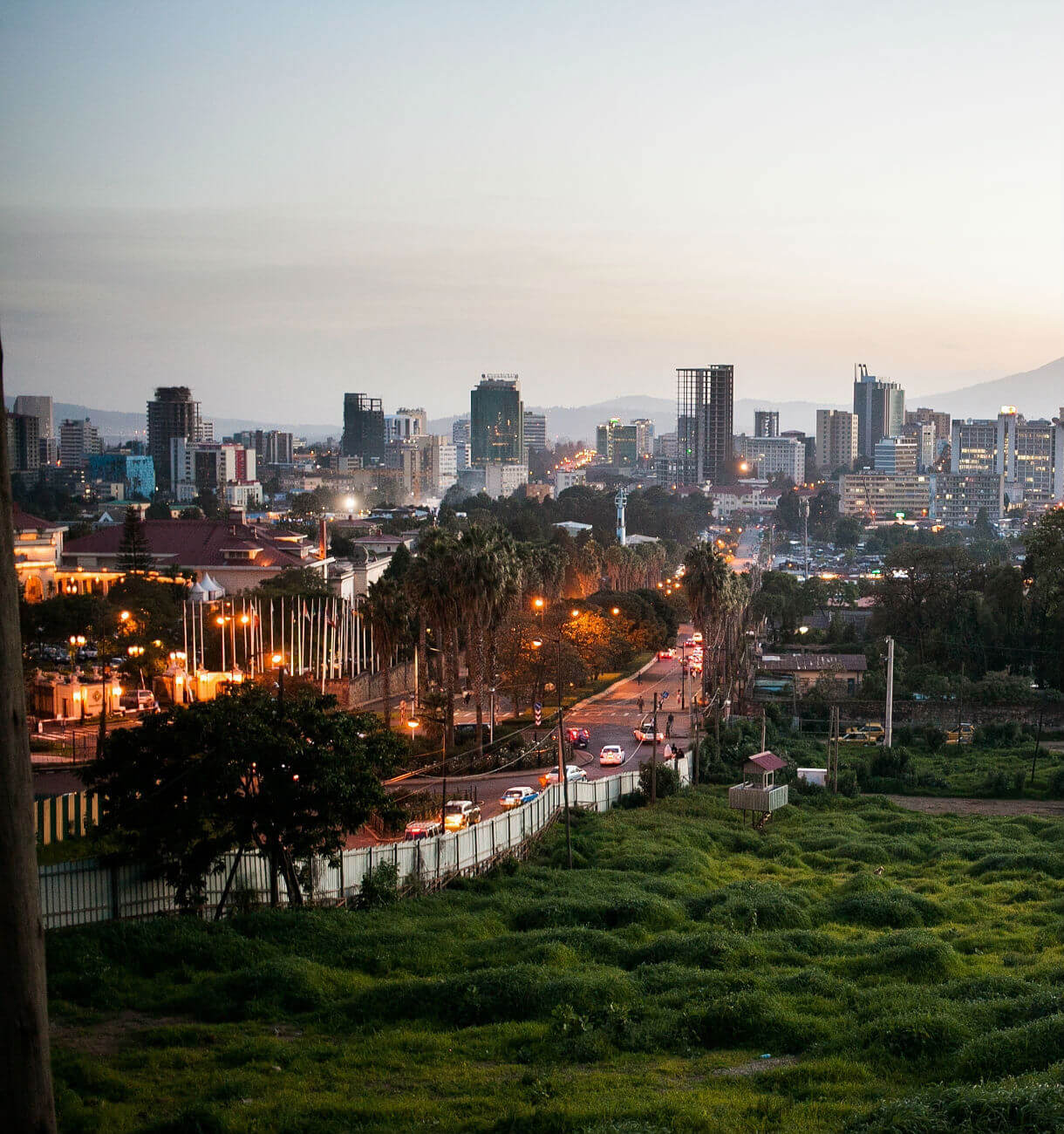 Ethiopias Capital seen from a hill just after sunset